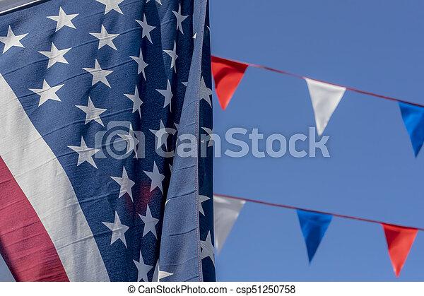 kék, lobogó, ég, amerikai, ellen - csp51250758