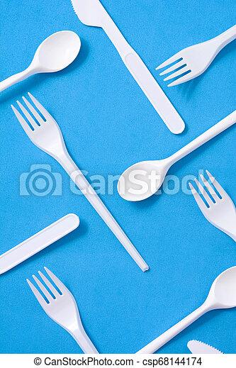 kék, motívum, eldobható, műanyag, edények és evőeszközök, háttér - csp68144174