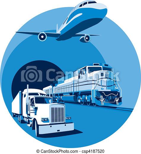 kék, rakomány, szállítás - csp4187520