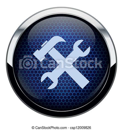 kék, rendbehozás, átlyuggatott díszítés, ikon - csp12009826