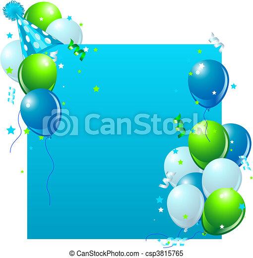 kék, születésnap kártya - csp3815765