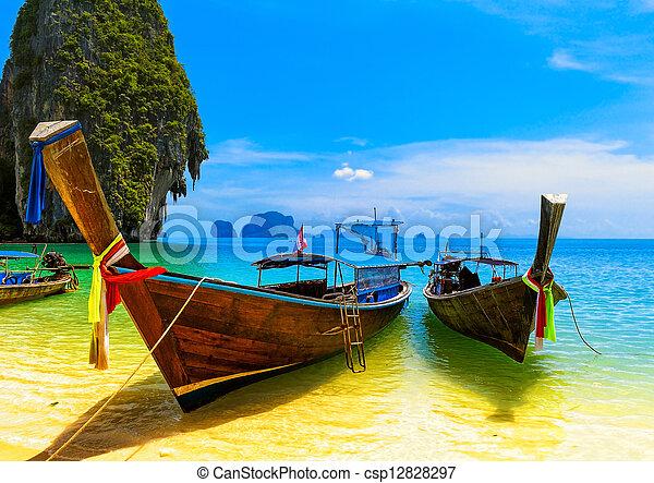 kék, táj, táj, boat., természet, fából való, sziget, utazás, ég, tropikus, hagyományos, erőforrás, gyönyörű, paradicsom, thaiföld, tengerpart, summer., víz - csp12828297