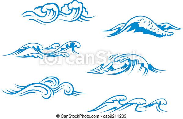 kék, tenger, lenget - csp9211203