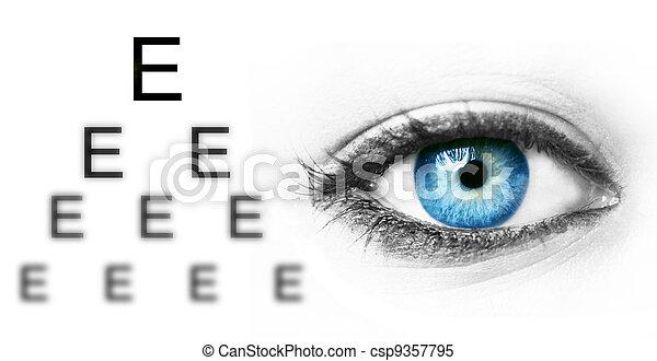 kék, teszt, szem engedélyez, emberi - csp9357795