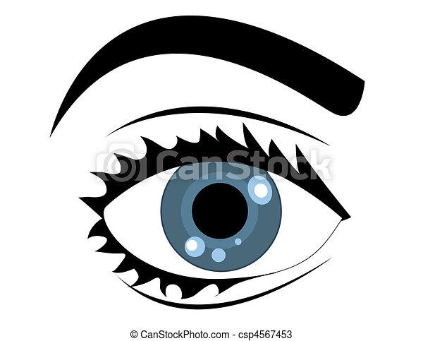 kék, vektor, szem - csp4567453