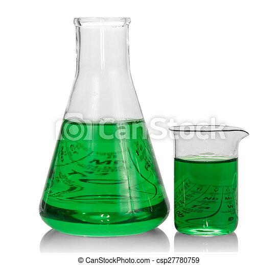 kémiai, palackok, zöld, folyékony - csp27780759