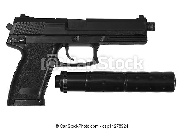 kémkedik, fehér, kézifegyver, háttér, hangfogó - csp14278324