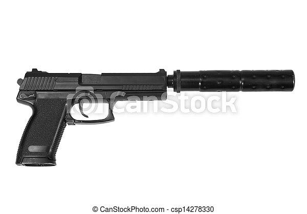 kémkedik, fehér, kézifegyver, háttér, hangfogó - csp14278330