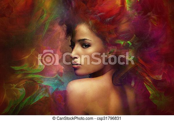 képzelet, nő, szenzáció - csp31796831