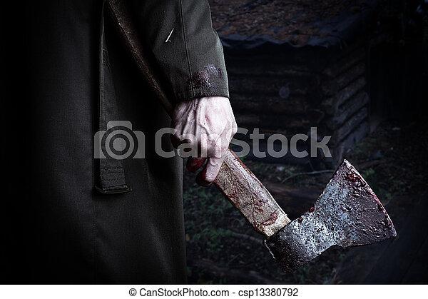kéz, hím, vér, fejsze - csp13380792