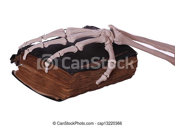 kéz, könyv, öreg, csontváz - csp13220366