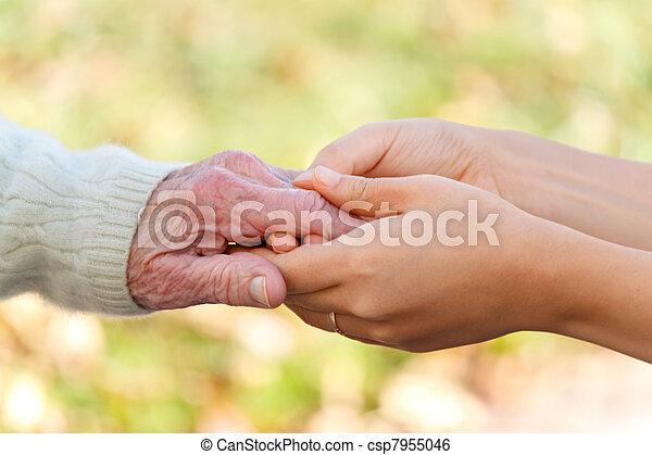 kézbesít, birtok, fiatal, idősebb ember - csp7955046