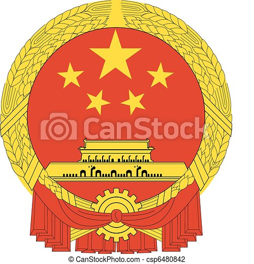 kína, nemzeti, vektor, embléma - csp6480842