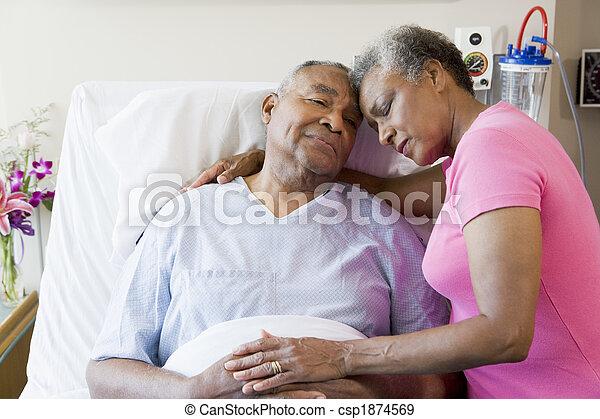 kórház, párosít, idősebb ember, átkarolás - csp1874569