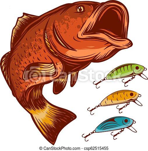 köder, fische, freigestellt, abbildung, vektor, fischerei, logo, weißes