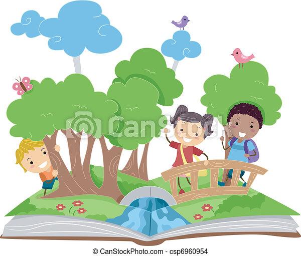 könyv, feláll, váratlanul - csp6960954
