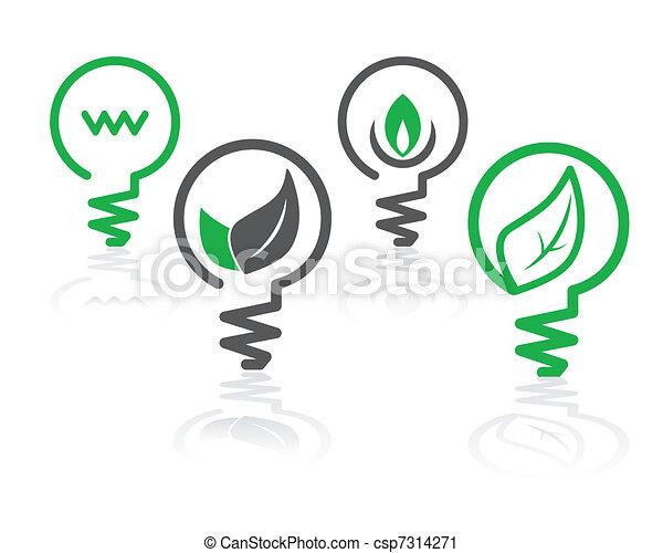 környezet, világoszöld, gumó, ikonok - csp7314271