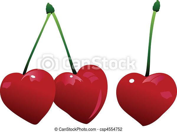 körsbär, tre, hjärta - csp4554752