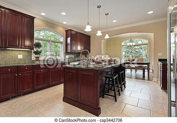 körsbär, ved, cabinetry, kök - csp3442706