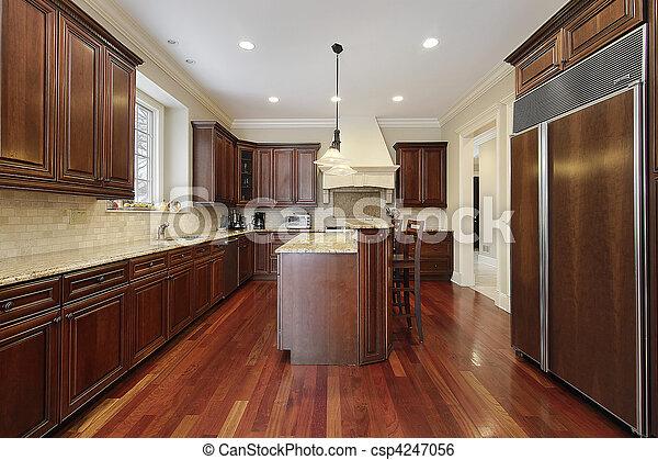 körsbär, ved, cabinetry, kök - csp4247056
