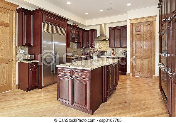 körsbär, ved, cabinetry, kök - csp3187705