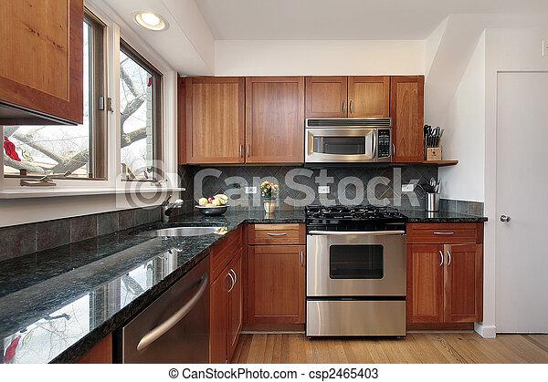 körsbär, ved, cabinetry, kök - csp2465403