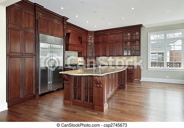 körsbär, ved, cabinetry, kök - csp2745673