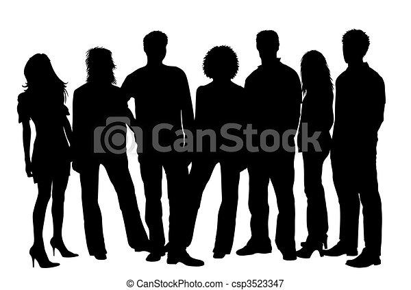 körvonal, young emberek - csp3523347