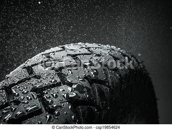 közelkép, autógumi, motorkerékpár, klasszikus, lövés, jár - csp19854624