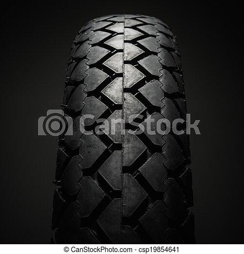 közelkép, autógumi, motorkerékpár, klasszikus, lövés, jár - csp19854641