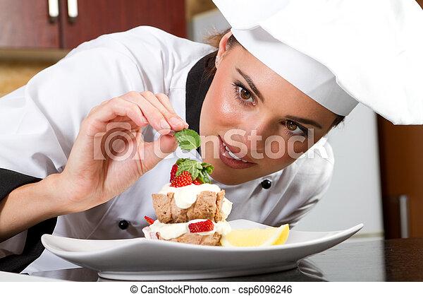 køkkenchef, mad, dekorer - csp6096246