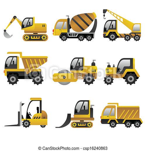 køretøjene, stor, konstruktion, iconerne - csp16240863