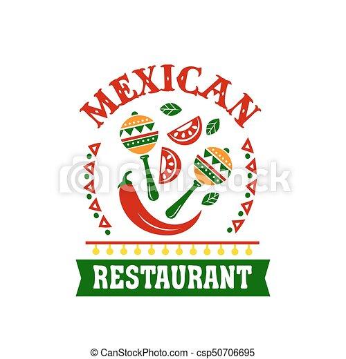 Küche, emblem, gasthaus, speise mexikaner, gewürz.... EPS Vektoren ...