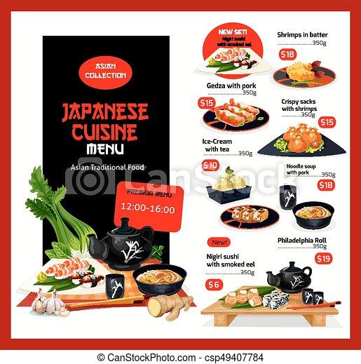 Küche, menükarte, preis, japanisches , vektor, schablone, karten ...