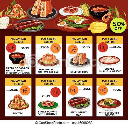 Küche, restaurantmenü, malaysier, design, schablone. Risotto, text ...