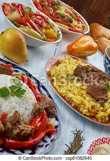 Uigurische küche. Uyghur küche, asia traditionelle, verschiedene