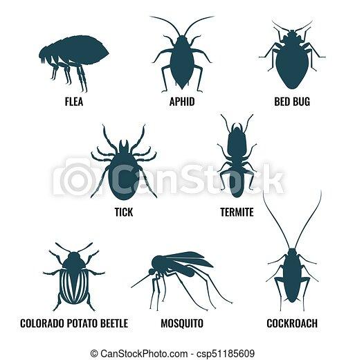 Kuchenschabe Satz Insekten Icons Ameise Vektor Abbildung