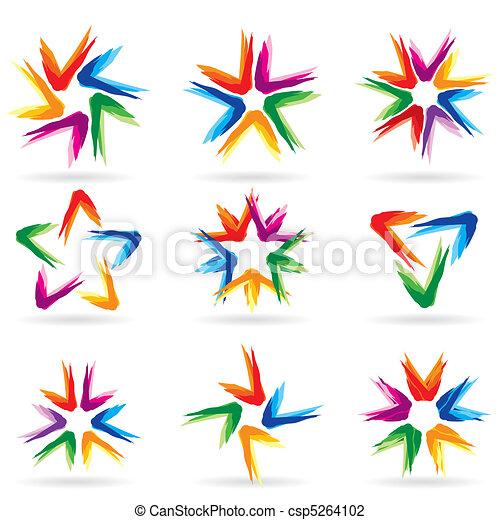 különböző, állhatatos, #11, csillaggal díszít, ikonok - csp5264102