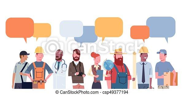 különböző, állhatatos, csoport, emberek, munkás, szellemi foglalkozás, gyűjtés, csevegés, buborék, foglalkozás - csp49377194