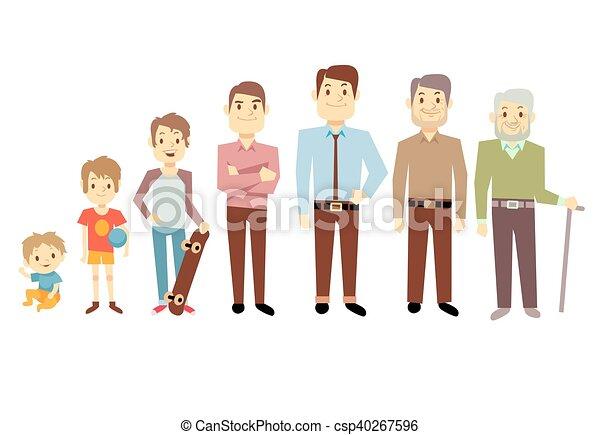 különböző, öreg, nemzedék, férfiak, évek, csecsemő, ábra, vektor, csecsemő, senior bábu - csp40267596