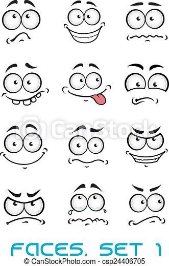különböző, karikatúra, érzelmek, arc - csp24406705