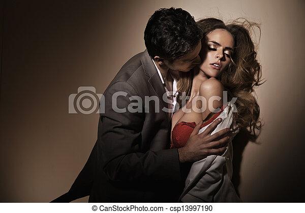 küsse, hals, sinnlich, delikat - csp13997190
