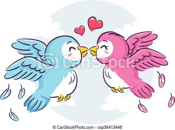 küssende , lieben vögel - csp36412448