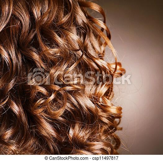 kędzierzawy, .natural, machać, włosy, hair., hairdressing. - csp11497817