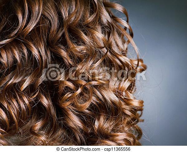 kędzierzawy, .natural, machać, włosy, hair., hairdressing. - csp11365556