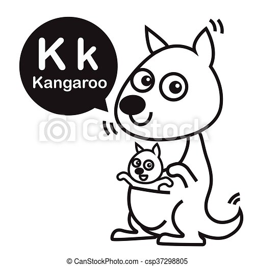 K Kangaroo Cartoon And Alphabet For Children To Learning And