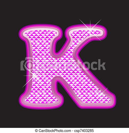 K letter pink bling girly - csp7403285