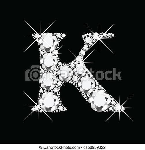 K letter with diamonds bling bling - csp8959322