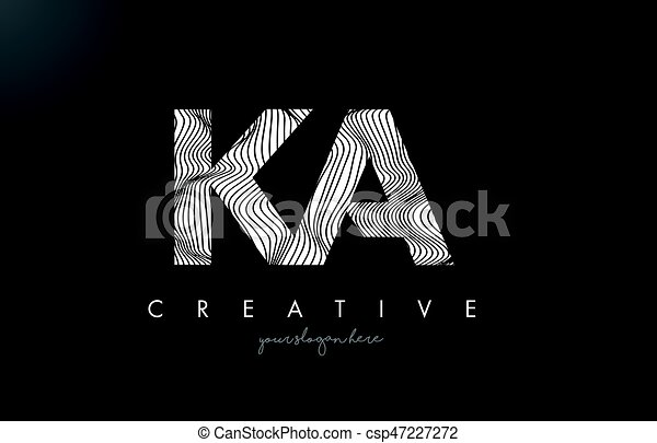Ka k a letter logo with zebra lines texture design vector ...
