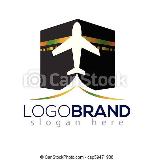 Kaaba Hajj Tour and travel vector logo template